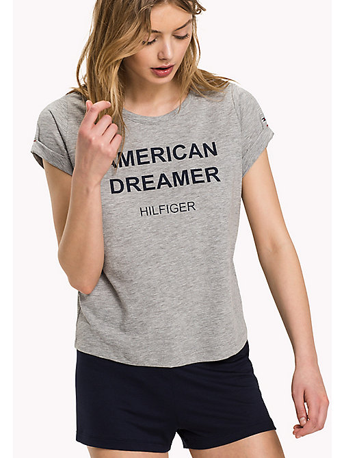 TOMMY HILFIGER SN TEE SS SLOGAN - GREY HEATHER - TOMMY HILFIGER Women - imagen principal