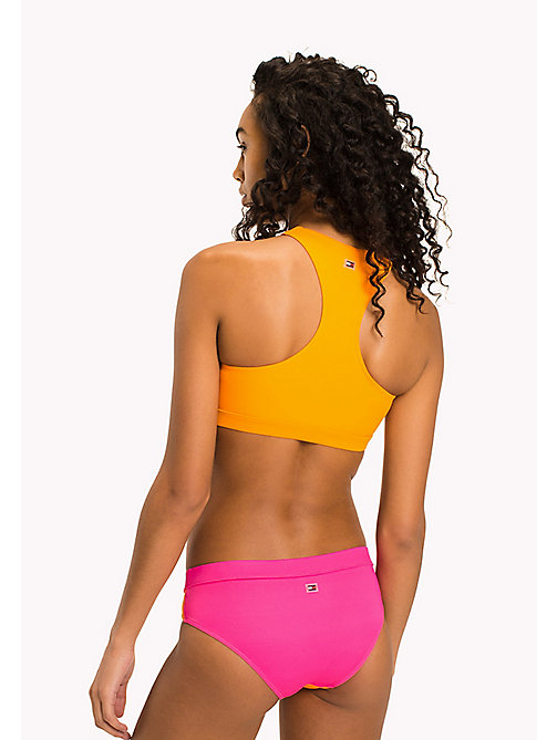TOMMY HILFIGER High Neck Bikini Crop Top - BRIGHT MARIGOLD - PINK GLO - TOMMY HILFIGER VACATION FOR HER - detail image 1