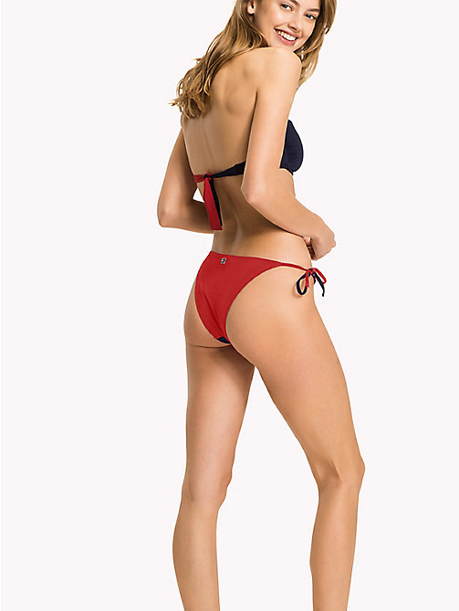 TOMMY HILFIGER Cheeky Side Tie Bikini Bottoms - NAVY BLAZER - TANGO RED - TOMMY HILFIGER Swim styles - detail image 1