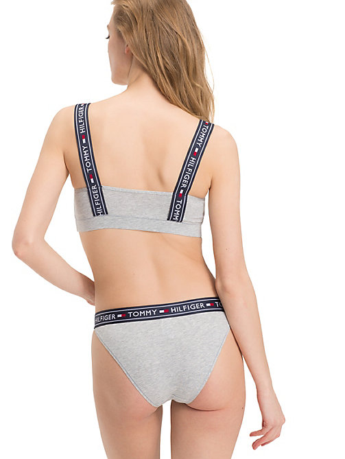 TOMMY HILFIGER Logo Tape Strap Bralette - GREY HEATHER - TOMMY HILFIGER Bras - detail image 1