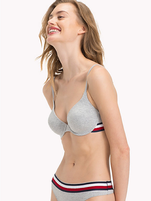 TOMMY HILFIGER Cotton T-Shirt Bra - GREY HEATHER - TOMMY HILFIGER Signature stripes - main image