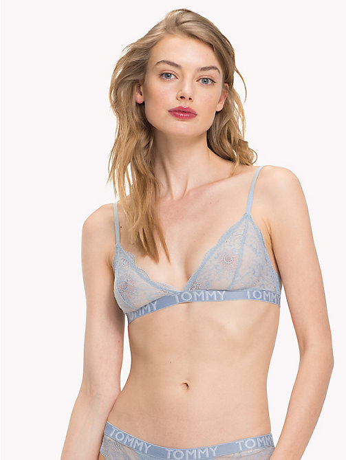 TOMMY HILFIGER Lace Triangle Bralette - DUSTY BLUE - TOMMY HILFIGER Bras - main image