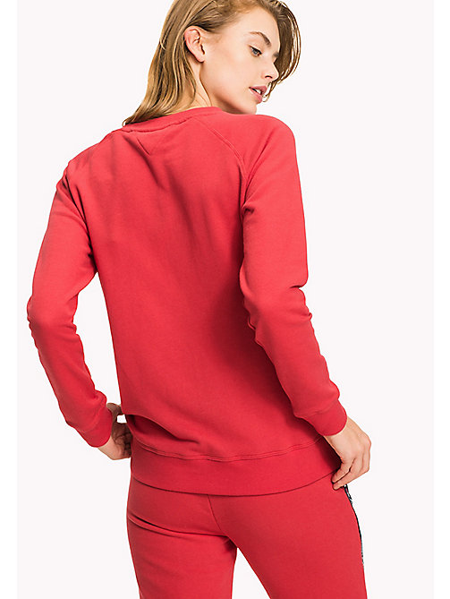 TOMMY HILFIGER Crew Neck Cotton Sweatshirt - TANGO RED - TOMMY HILFIGER Tops - imagen detallada 1