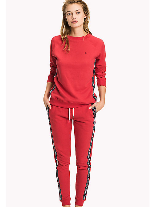 TOMMY HILFIGER Crew Neck Cotton Sweatshirt - TANGO RED - TOMMY HILFIGER Tops - main image