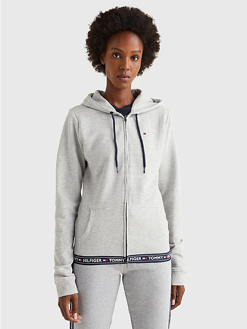 TOMMY HILFIGER Lounge-Hoodie aus softem Baumwoll-Terry - GREY HEATHER - TOMMY HILFIGER Oberteile - main image