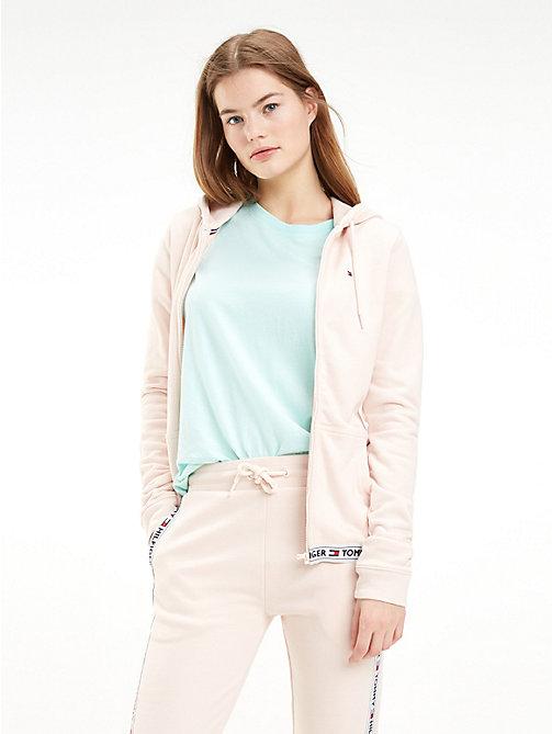 ec5dee67b1e009 pink lounge-hoodie aus softem baumwoll-terry für damen - tommy hilfiger