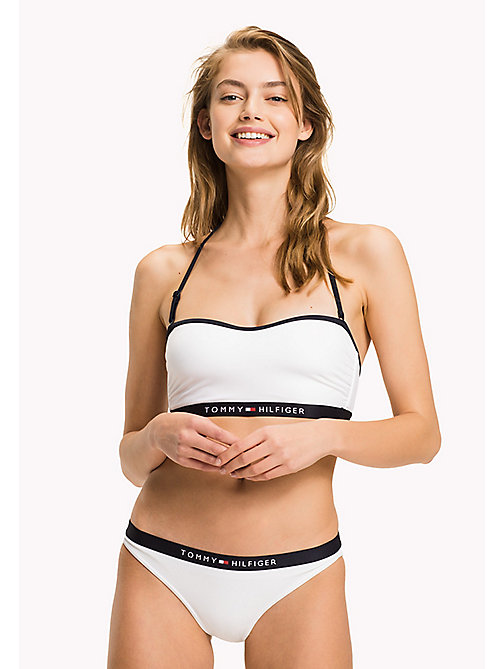 TOMMY HILFIGER Logo Bandeau Bikini Top - BRIGHT WHITE - TOMMY HILFIGER VACATION FOR HER - main image