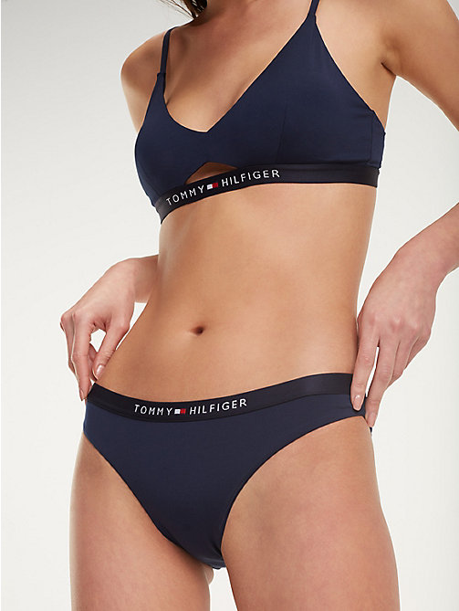 TOMMY HILFIGER Logo Waistband Bikini Bottoms - NAVY BLAZER - TOMMY HILFIGER VACATION FOR HER - main image