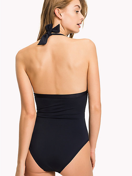 TOMMY HILFIGER Halter Neck Logo Swimsuit - NAVY BLAZER - TOMMY HILFIGER Swimsuits - detail image 1