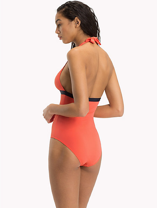 TOMMY HILFIGER Halter Neck Logo Swimsuit - DUBARRY RED - TOMMY HILFIGER Bikinis - detail image 1