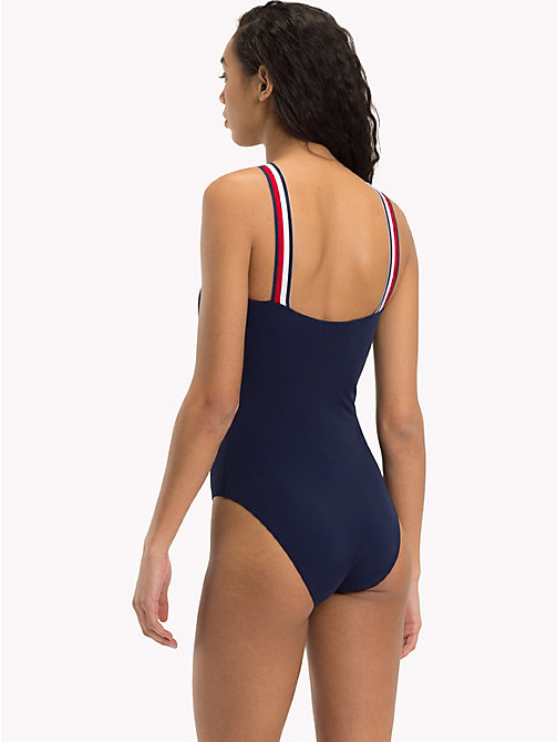 TOMMY HILFIGER Signature Stripe Crossover Swimsuit - NAVY BLAZER - TOMMY HILFIGER VACATION FOR HER - detail image 1