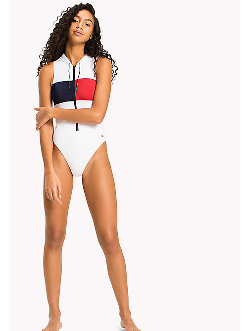 TOMMY HILFIGER Hooded Swimsuit - BRIGHT WHITE - TOMMY HILFIGER VACATION FOR HER - main image
