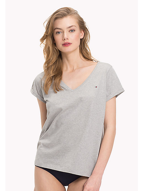TOMMY HILFIGER T-shirt in cotone biologico con scollo a V - GREY HEATHER - TOMMY HILFIGER Maglie - immagine principale