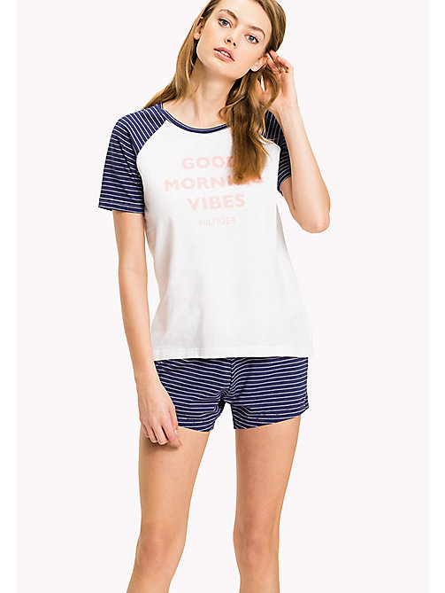 TOMMY HILFIGER Stripe Cotton Jersey Pyjama Set - WHITE / BLUE PRINT - TOMMY HILFIGER Pyjamas - main image