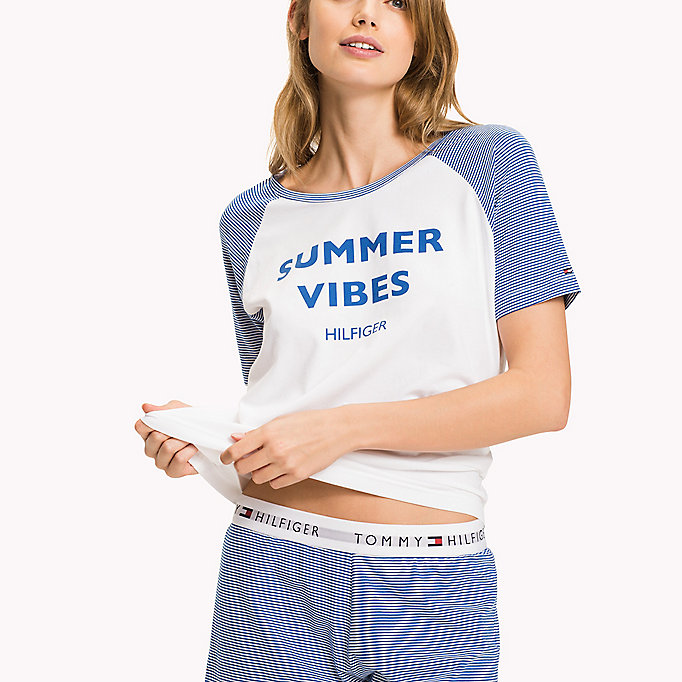 TOMMY HILFIGER Stripe Cotton Jersey Pyjama Set - WHITE / BLUE PRINT - TOMMY HILFIGER Women - detail image 2