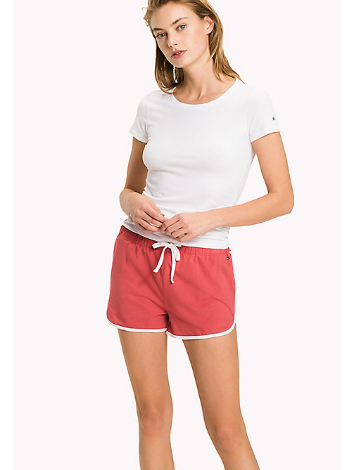 TOMMY HILFIGER Cotton Drawstring Lounge Shorts - AMERICAN BEAUTY - TOMMY HILFIGER Women - main image