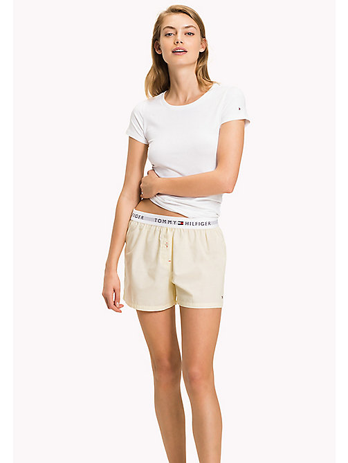 TOMMY HILFIGER Woven Cotton Lounge Boxers - YELLOW CREAM - TOMMY HILFIGER Bottoms - main image