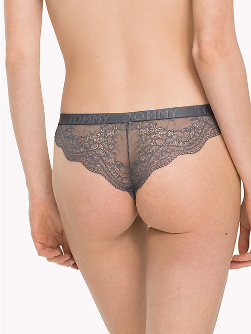 TOMMY HILFIGER Scalloped Lace Brazilian Knickers - IRON GATE - TOMMY HILFIGER Lounge & Lingerie - detail image 1