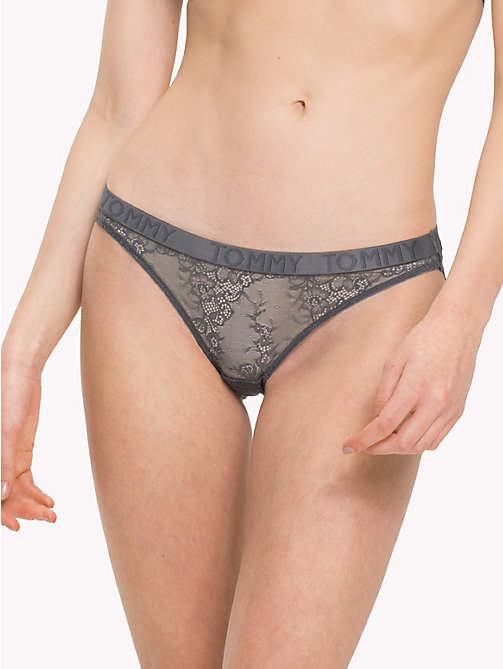 TOMMY HILFIGER Scalloped Lace Bikini Knickers - IRON GATE - TOMMY HILFIGER Lounge & Lingerie - main image