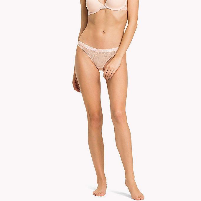 TOMMY HILFIGER Embroidered Lace Bikini Briefs - TEABERRY - TOMMY HILFIGER Clothing - main image