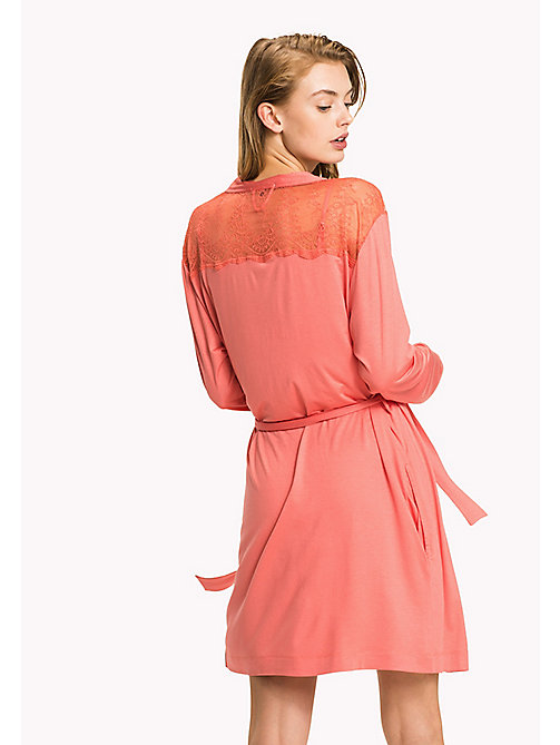 TOMMY HILFIGER Modal Lace Insert Bathrobe - SPICED CORAL - TOMMY HILFIGER Night Dresses & Bathrobes - detail image 1