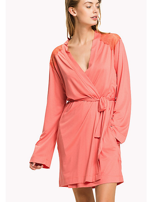 TOMMY HILFIGER Modal Lace Insert Bathrobe - SPICED CORAL - TOMMY HILFIGER Night Dresses & Bathrobes - main image
