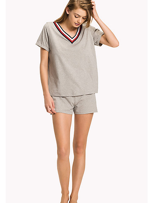 TOMMY HILFIGER Organic Cotton Signature Stripe T-Shirt - GREY HEATHER - TOMMY HILFIGER Tops - main image