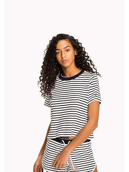TOMMY HILFIGER Stripe Print Lounge T-Shirt - SNOW WHITE - TOMMY HILFIGER Sale Women - main image