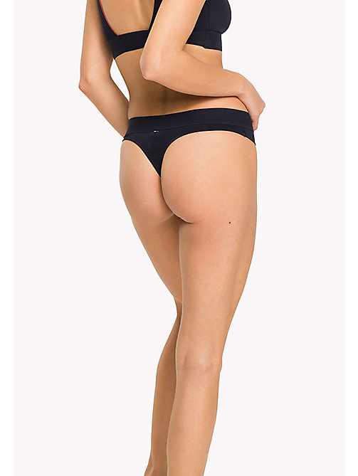 TOMMY HILFIGER Microfibre Logo Print Thong - NAVY BLAZER - TOMMY HILFIGER Knickers - detail image 1