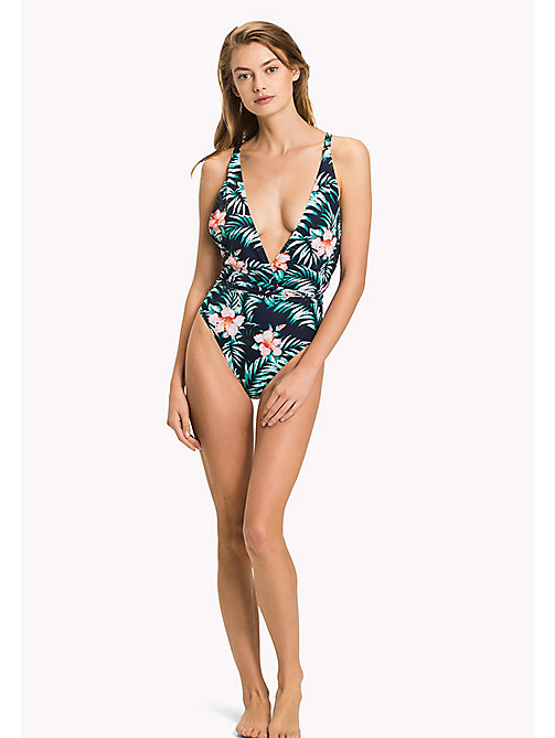 TOMMY HILFIGER Hibiscus Print Halterneck Swimsuit - HIBISCUS PRINT NAVY BLAZER - TOMMY HILFIGER Underwear & Loungewear - main image