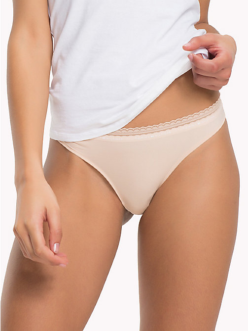 TOMMY HILFIGER Microfibre Thong - NUDE - TOMMY HILFIGER Knickers - main image