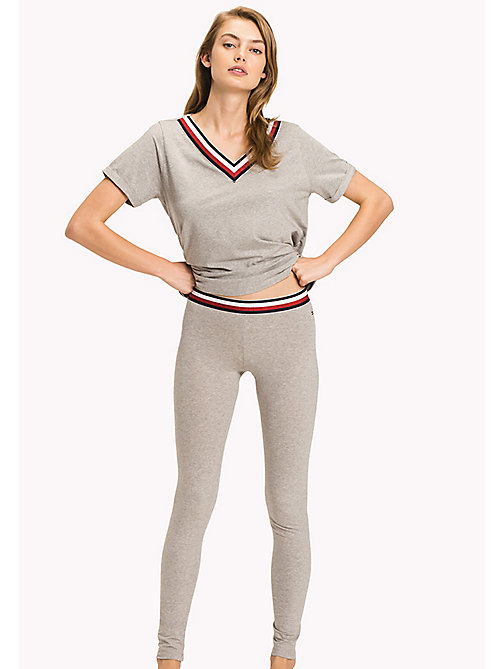 TOMMY HILFIGER Legging en coton bio - GREY HEATHER/GREY HEATHER - TOMMY HILFIGER Bas de pyjamas - image principale