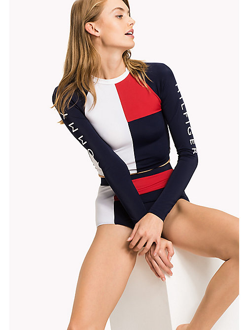 TOMMY HILFIGER Colour-Blocked UV Protection Rashguard - NAVY BLAZER - TANGO RED? NAVY BLAZER - T - TOMMY HILFIGER VACATION FOR HER - main image
