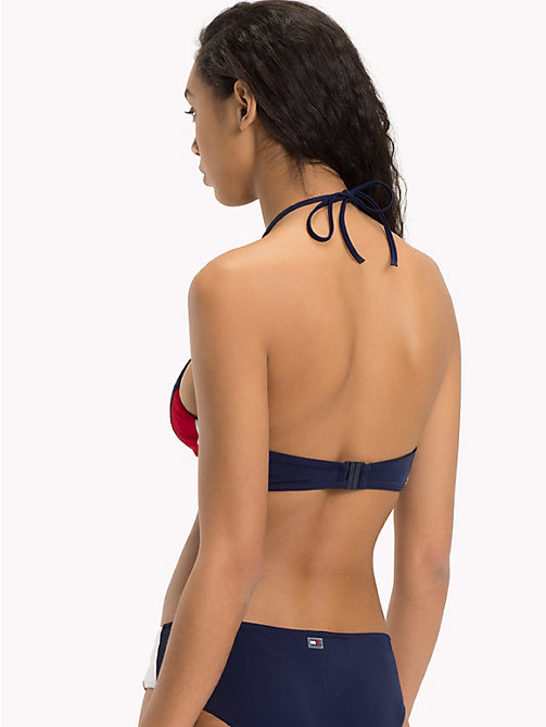 TOMMY HILFIGER Colour-Blocked Crop Top - NAVY BLAZER - TANGO RED - TOMMY HILFIGER Swimwear - detail image 1