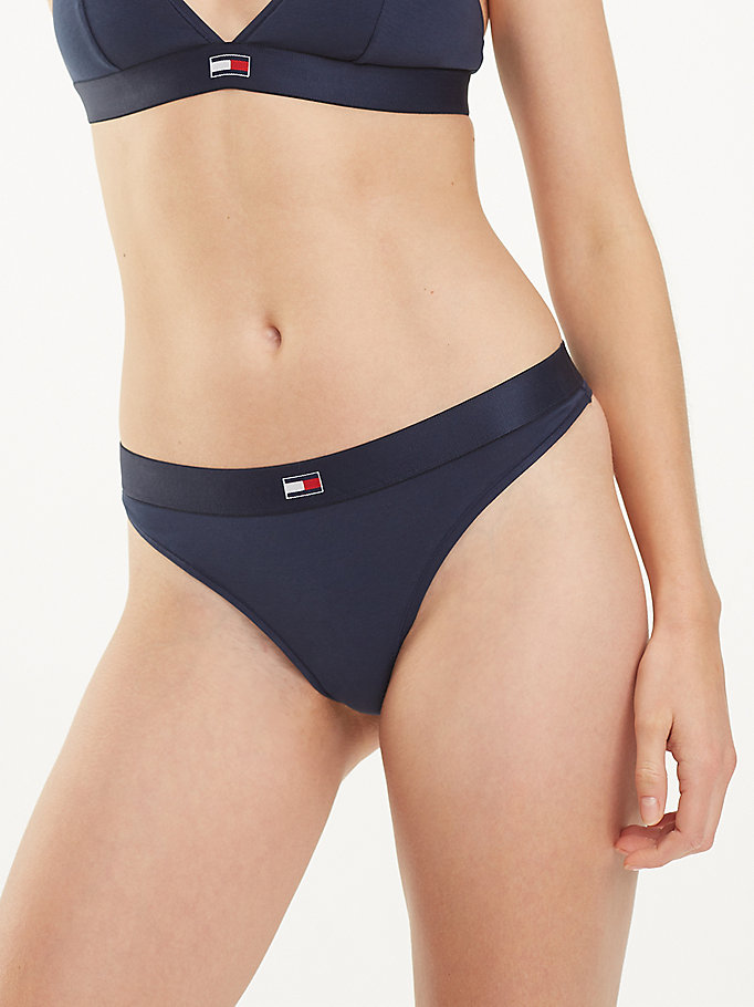 blue microfibre stretch thong for women tommy hilfiger
