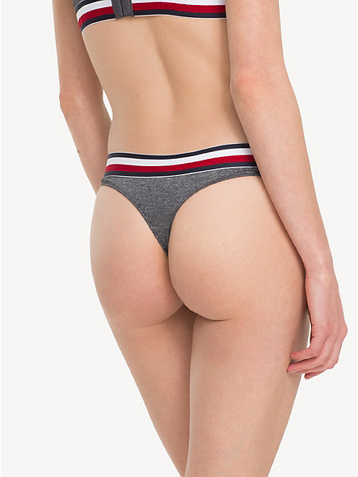 TOMMY HILFIGER Colour-Blocked Thong - DARK GREY HTR - TOMMY HILFIGER Briefs - detail image 1