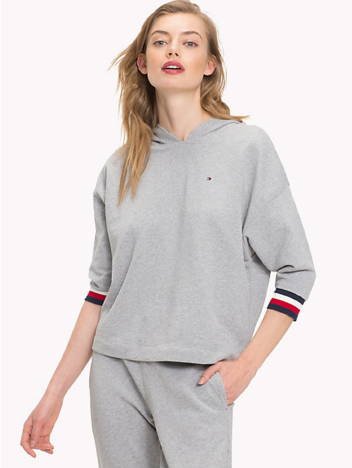 TOMMY HILFIGER Longer Length Logo Hoody - GREY HEATHER - TOMMY HILFIGER Sustainable Evolution - main image