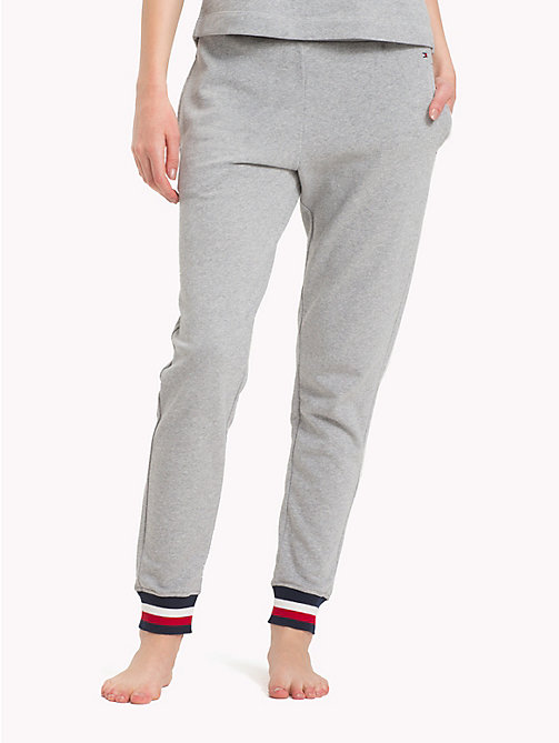 TOMMY HILFIGER Colour-Blocked Logo Cuff Joggers - GREY HEATHER - TOMMY HILFIGER Underwear & Swimwear - main image
