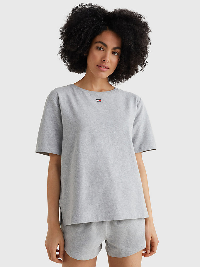 grey colour-blocked t-shirt for women tommy hilfiger