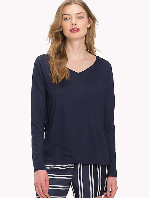 TOMMY HILFIGER V-Neck Long-Sleeve Top - NAVY BLAZER - TOMMY HILFIGER Lounge & Lingerie - main image