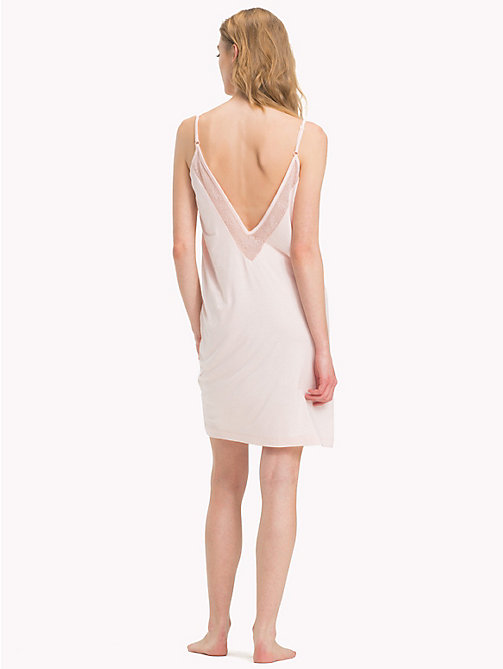 TOMMY HILFIGER Mesh Viscose Strappy Dress - PALE PINK - TOMMY HILFIGER Night Dresses & Bathrobes - detail image 1