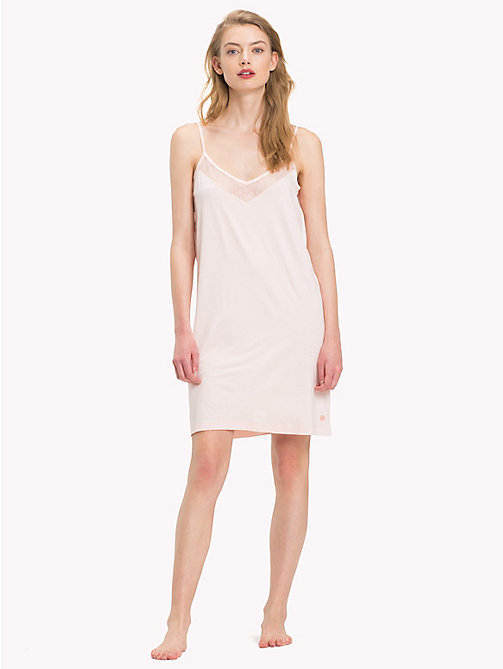 TOMMY HILFIGER Mesh Viscose Strappy Dress - PALE PINK - TOMMY HILFIGER Night Dresses & Bathrobes - main image