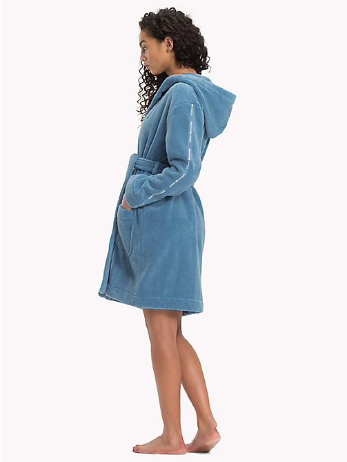 TOMMY HILFIGER Hooded Towelling Bathrobe - BLUE HEAVEN - TOMMY HILFIGER Night Dresses & Bathrobes - detail image 1