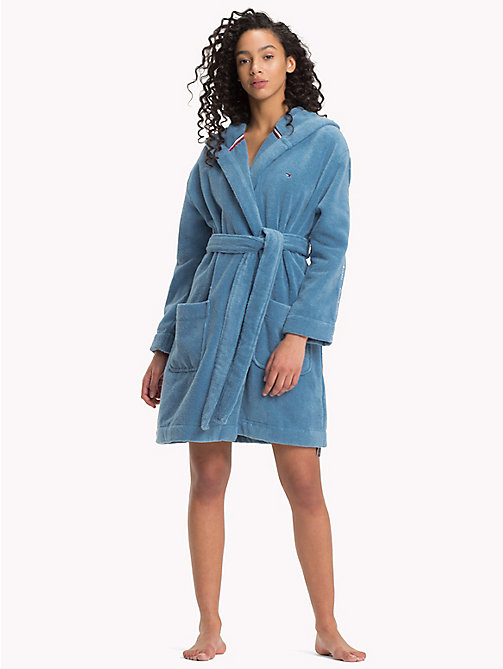 TOMMY HILFIGER Hooded Towelling Bathrobe - BLUE HEAVEN - TOMMY HILFIGER Underwear & Swimwear - main image
