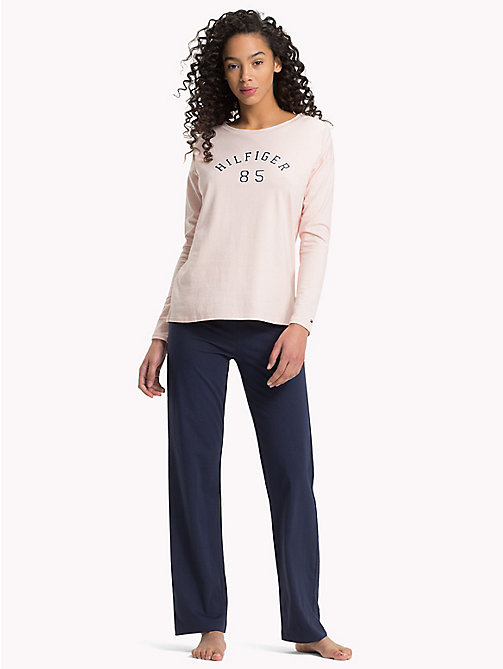 TOMMY HILFIGER Langärmliges Pyjamaset mit Logo - PALE BLUSH/ NAVY BLAZER - TOMMY HILFIGER Friends & Family Damen - main image