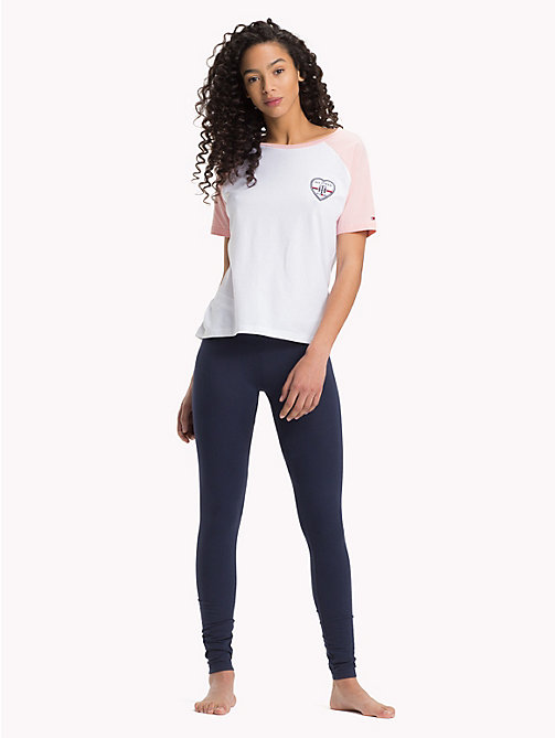 TOMMY HILFIGER Short-Sleeve Heart Logo Pyjama Set - WHITE/NAVY BLAZER - TOMMY HILFIGER Pyjamas - main image