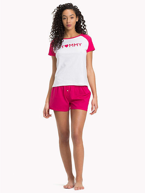 TOMMY HILFIGER Woven Boxer Love Set - WHITE/ RASPBERRY - TOMMY HILFIGER Pyjamas - main image