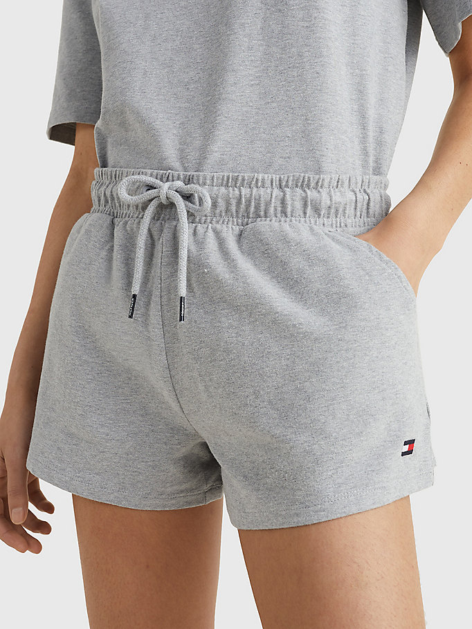 grey drawstring jersey shorts for women tommy hilfiger