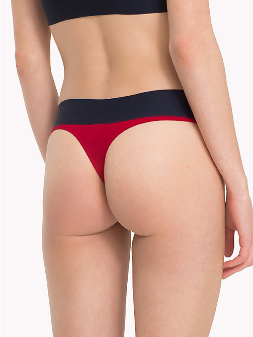 TOMMY HILFIGER Woven Flag Thong - CHILI PEPPER - TOMMY HILFIGER Lounge & Lingerie - detail image 1