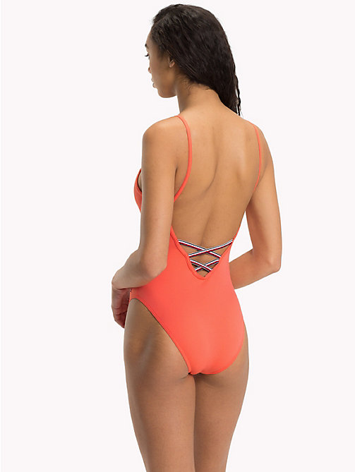 TOMMY HILFIGER Logo One-Piece Swimsuit - DUBARRY RED - TOMMY HILFIGER Swimsuits - detail image 1